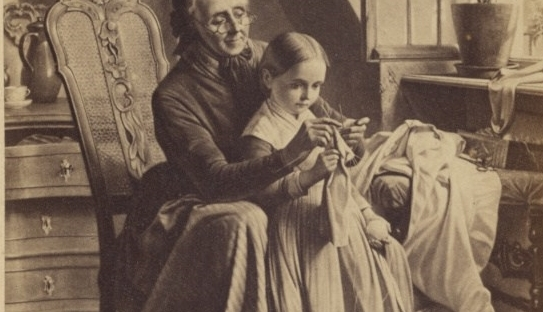 19th century picture of woman helping a child with her sewing.