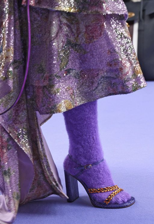 Mulberry Knitted Long Socks in Lilac Mohair