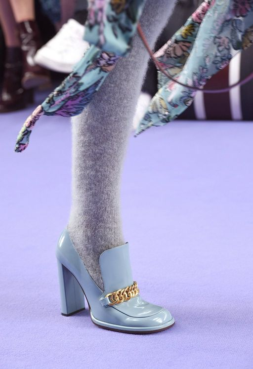 Mulberry Knitted Long Socks in Light Grey Mohair