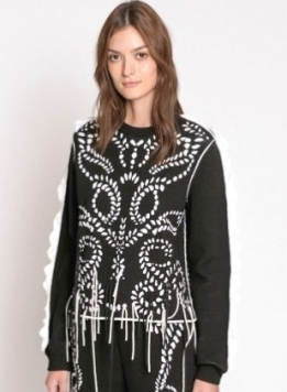 Sonia Rykiel Jacquard Knit Sweater with Ruffles