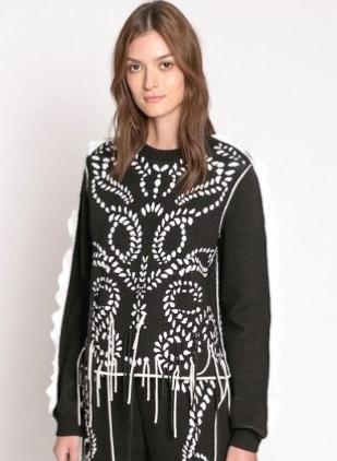 Sonia Rykiel Jacquard Knit Sweater with Ruffles