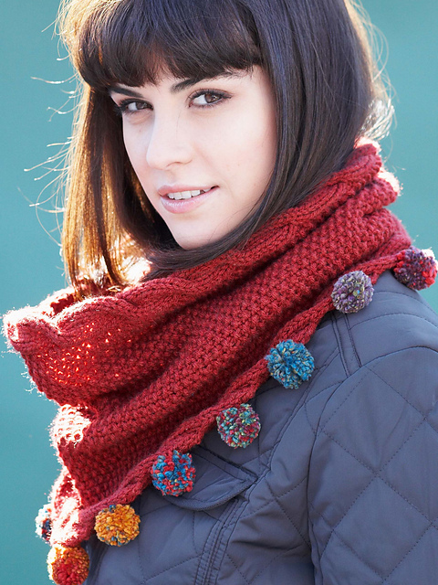 Cabled Cowl with Pompom Edge by Bernat Design Studio
