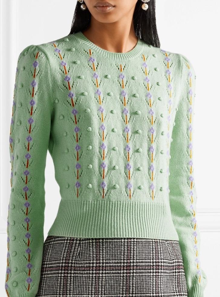 Miu Miu Pointelle-trimmed Cashmere Sweater