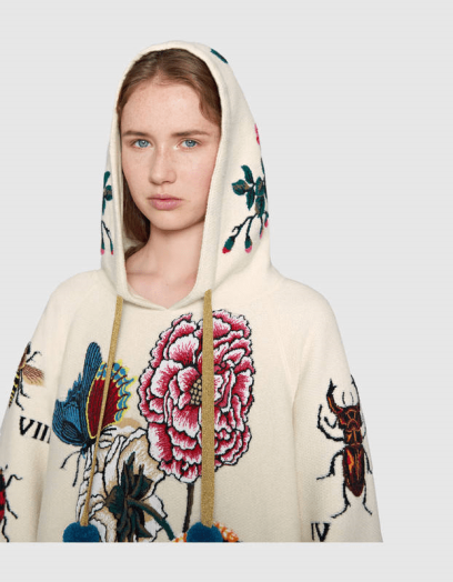 Embroidered Wool Hooded Sweatshirt