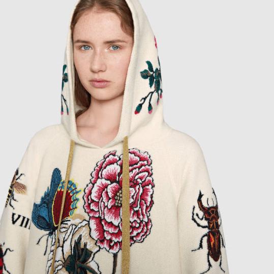 Embroidered Wool Hooded Sweatshirt