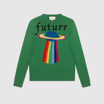 Gucci Men's Wool Sweater with Planet Intarsia
