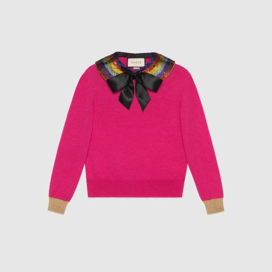 Gucci Cashmere Silk Knitted Top with Detachable Collar