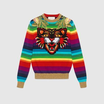 Gucci Embroidered Wool Knitted Top