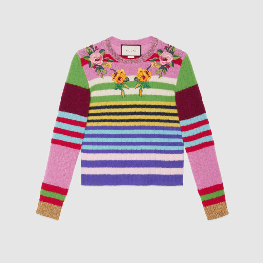 Gucci Embroidered multicolor knitted top