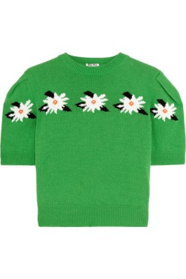 Miu Miu Cropped Intarsia Wool Sweater