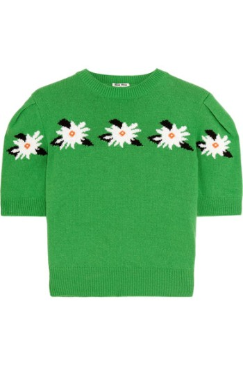 Miu Miu Cropped Intarsia Wool Sweater