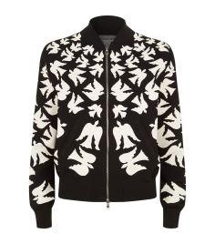Alexander McQueen Swallow Intarsia Bomber Jacket