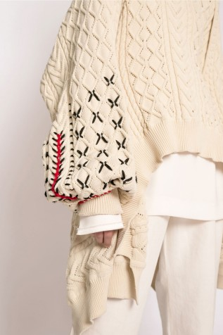 Sonia Rykiel Embroidered Aran Knit Sleeves