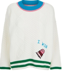 Mira Mikati Embroidered Monster Aran Sweater