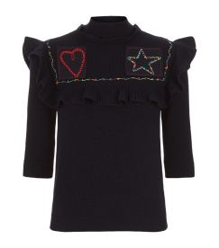 Valentino Embroidered Frill Knit Sweater