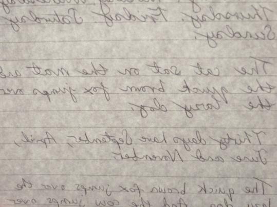 Backwards hand writing