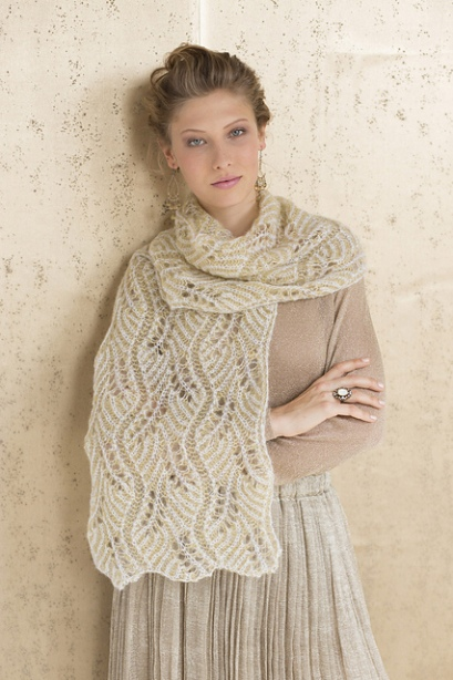 Champagne Bubbles Brioche Lace Scarf by Nancy Marchant. Photo copyright SoHoPublishing.
