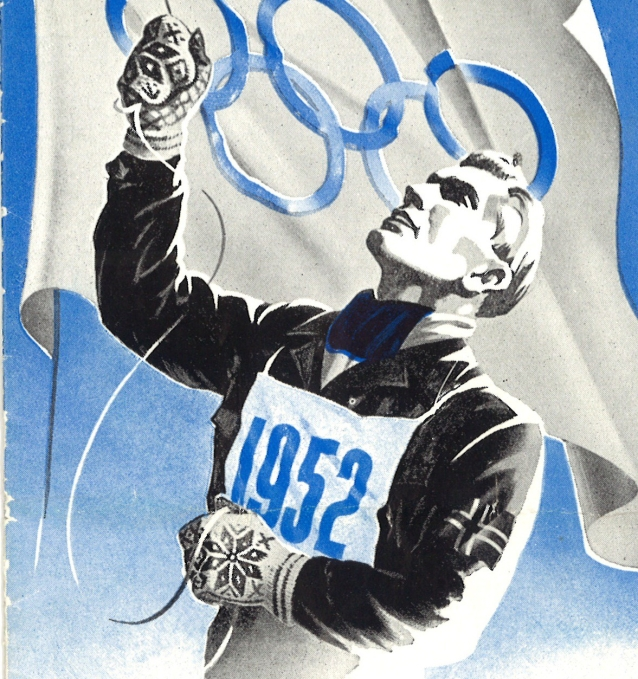 1952 promotional image from 1952 Olympic Games, featuring a man raising the Olympic flag; he wears a blue and white striped scarf and mittens featuring traditional stranded Nordic colourwork.