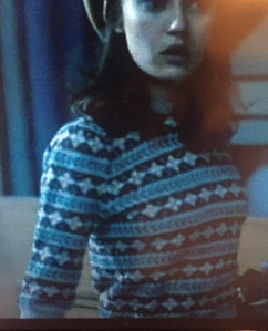 Fitted Fair Isle jumper, worn by Ella Purnell as Hester Argyll in Ordeal by Innocence (BBC 2018)