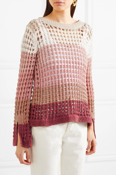 All-over eyelet lace sweater in ombre stripes. By See by Chloe, SS2018