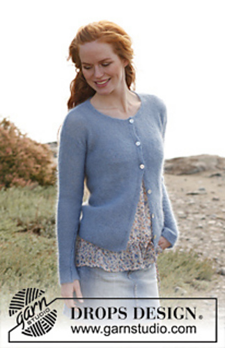 138-21 Morning Sky by DROPS Design. Crew neck, classic cardigan.