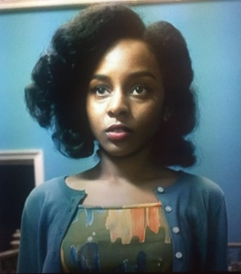 Crystal Clarke Argyll in Ordeal by Innocence (BBC 2018) wearing classic, crew neck cardigan