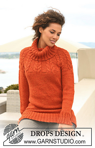 Polo neck cabled sweater with circular yoke, knitted in warm orange tone. 122-8 Autumn Sunrise by DROPS design.