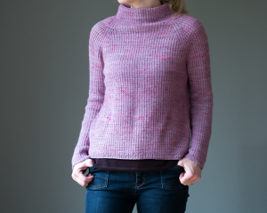 Funnel neck sweater in mauve. Knitting pattern Raspberry and cream by Katrin Schneider