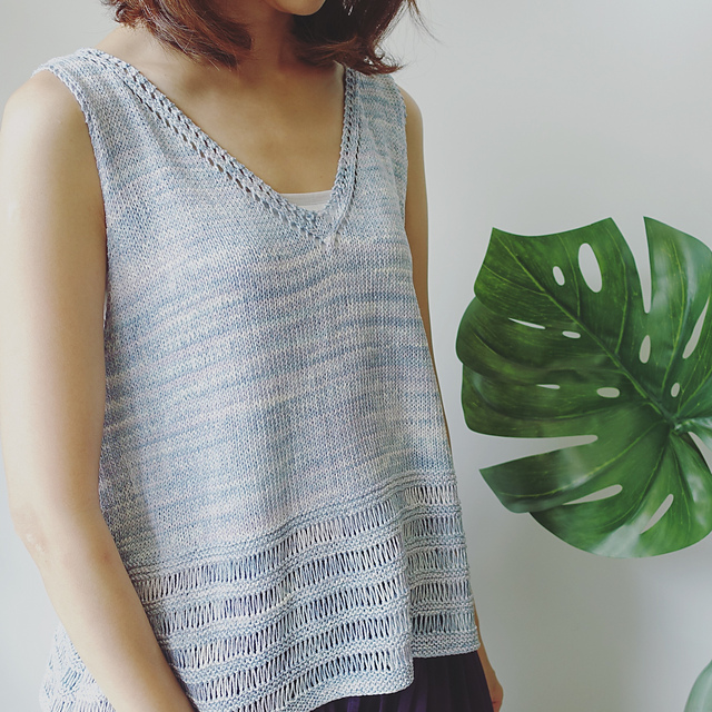 Elegant tank top with lace. Perfect summer knitting.