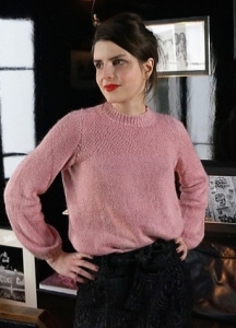 Vintage style funnel neck sweater with textured yoke. Amandine by Alice Hammer