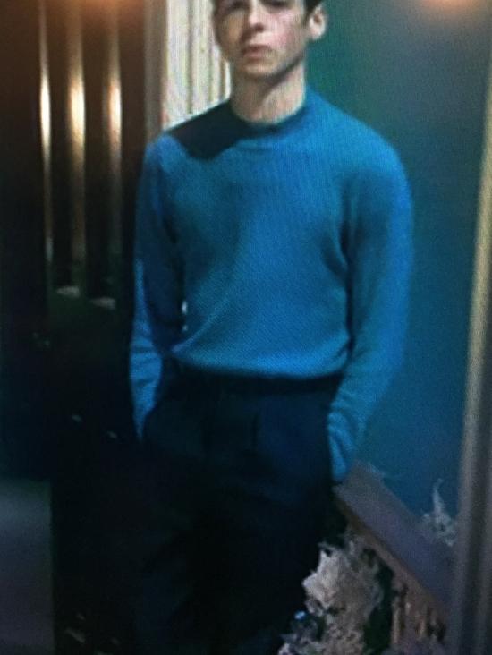 Anthony Boyle as Jack Argyll in Ordeal by Innocence (BBC 2018) wearing sleek, turtleneck jumper/sweater.