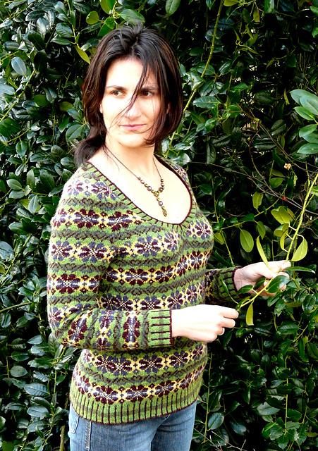 Lissuin by Ann Kingstone, a v-neck sweater with all-over Fair Isle design.