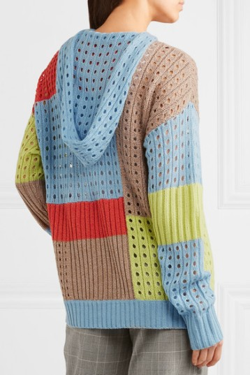 Patchwork effect, hooded sweater with eyelet details. By House of Holland.