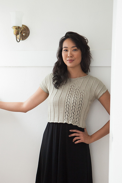 Vintage style short top with lace panels. Knitted in cotton blend, perfect for summer. Knit Picks.