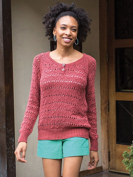 summer sweater with lace, knitting pattern, knitting with cotton and bamboo. Amy Christoffers
