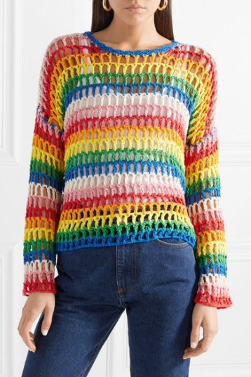 Mira Mikati Striped Crocheted Cotton Sweater (from net-a-porter)