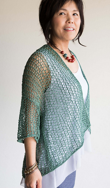 Open knit mesh cardigan. Knitting pattern: Cloud Cover by Yumiko Alexander