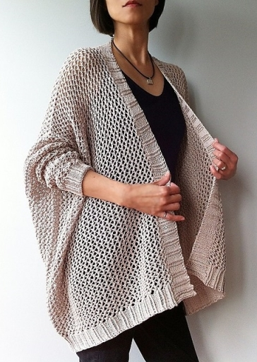 Oversized, knitted cardigan with all-over mesh lace. Knitting pattern: Angelina Cardigan by Vicky Chan.