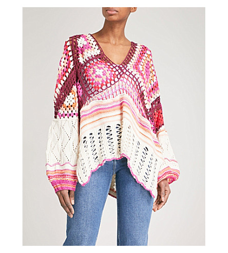Free People Call Me Crocheted Knitted Cotton Jumper (from selfridges.com) SS2018