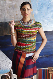Crocheted, multi-colour top with ballet neck. Crochet pattern: #21 Ballet-neck tee by Linda Skuya.