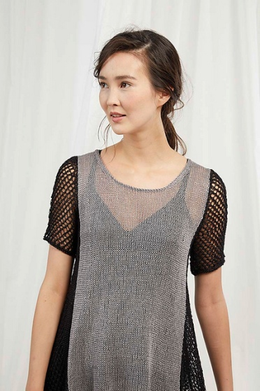 Two-tone, knitted lace mesh dress. Knitting pattern by Lang Yarns Switzerland