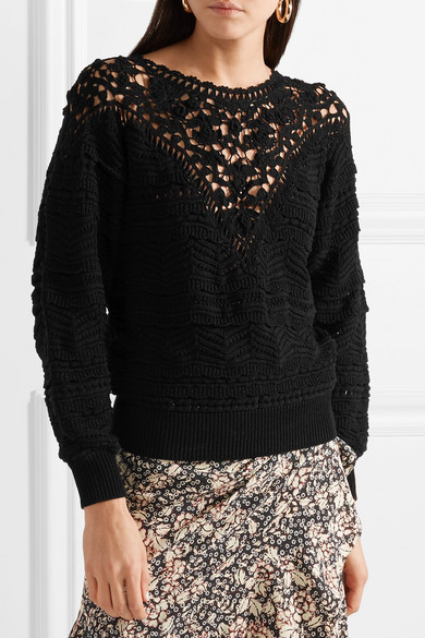 Isabel Marant Camden Lace and Crocheted Cotton Sweater (from net-a-porter) SS2018