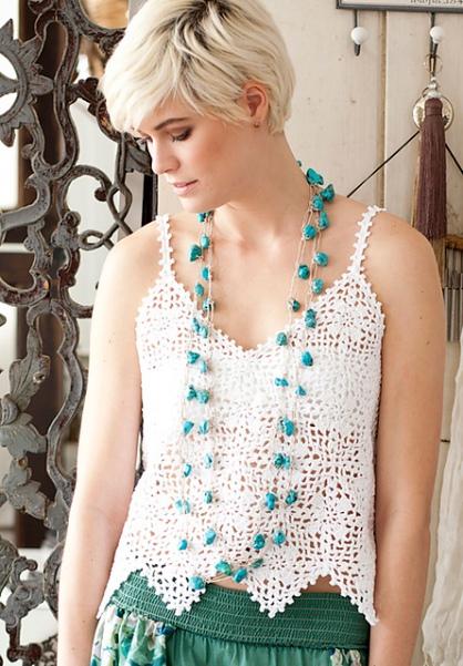 Crocheted lace tan top. Crochet pattern: #11 Tank Top by Yoko Hatta