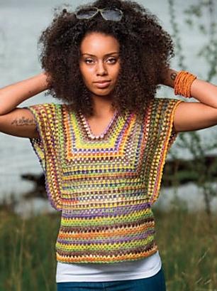 Crocheted, multi-coloured sweater. Crochet pattern: Lottie Top by Moon Eldridge