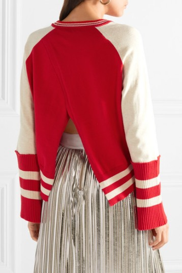 Mira Mikati Applliqued Striped Cotton Sweater (from net-a-porter)