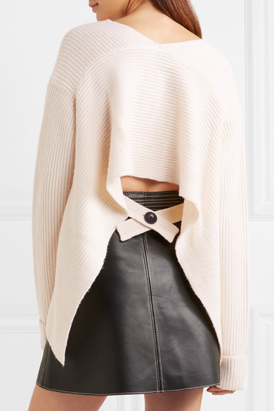 3.1 Phillip Lim Open Back Ribbed Wool and Yak Blend Sweater (from net-a-porter)