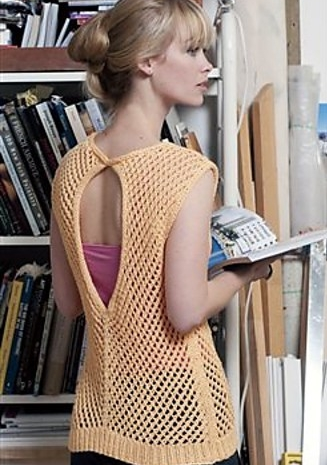 Knitted lace top with keyhole back opening. Knitting pattern: Planche Vest by Meghan Jones, for Interweave Knits.