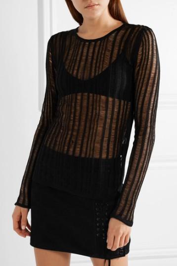 Saint Laurent Striped Open-knit Linen and Silk Blend Top (from netaporter) SS2018