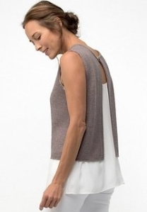 Knitted tank top with open back. Knitting pattern: Aurora by Shellie Anderson