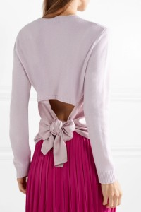 Valentino Tie-back Satin Crepe Trimmed Cashmere Sweater (from net-a-porter)